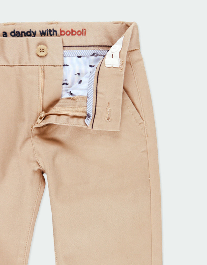 Boboli Boboli Stretch satin trousers for boy beig 731078