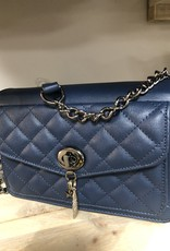 Tas donkerblauw met extra vakje en hengsel