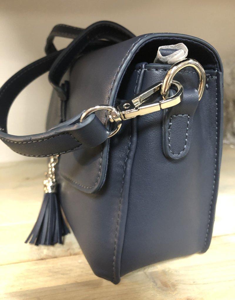 Tas donkerblauw met kwastjses en hengsel