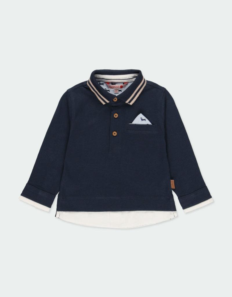 Boboli Boboli Knit combined polo for baby boy NAVY 711313