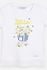 Mayoral Mayoral S/s ruffled sleeves shirt Whit-Yellow flower