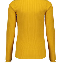 Nobell Nobell Kolet rib turtle neck tshirt with fancy buttons at shoulder Q008-3400 Yellow Gold