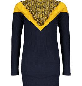 Nobell Nobell Mikin rib jersey dress with Zebra toppart Q008-3804 Grey Navy