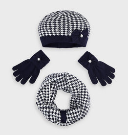 Mayoral Mayoral Houndstooth blue hat and scarf set for girl