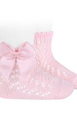 Condor Condor Sokje roze open  gewerkt met strikken