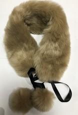 Bont sjaal beige met bonten bal