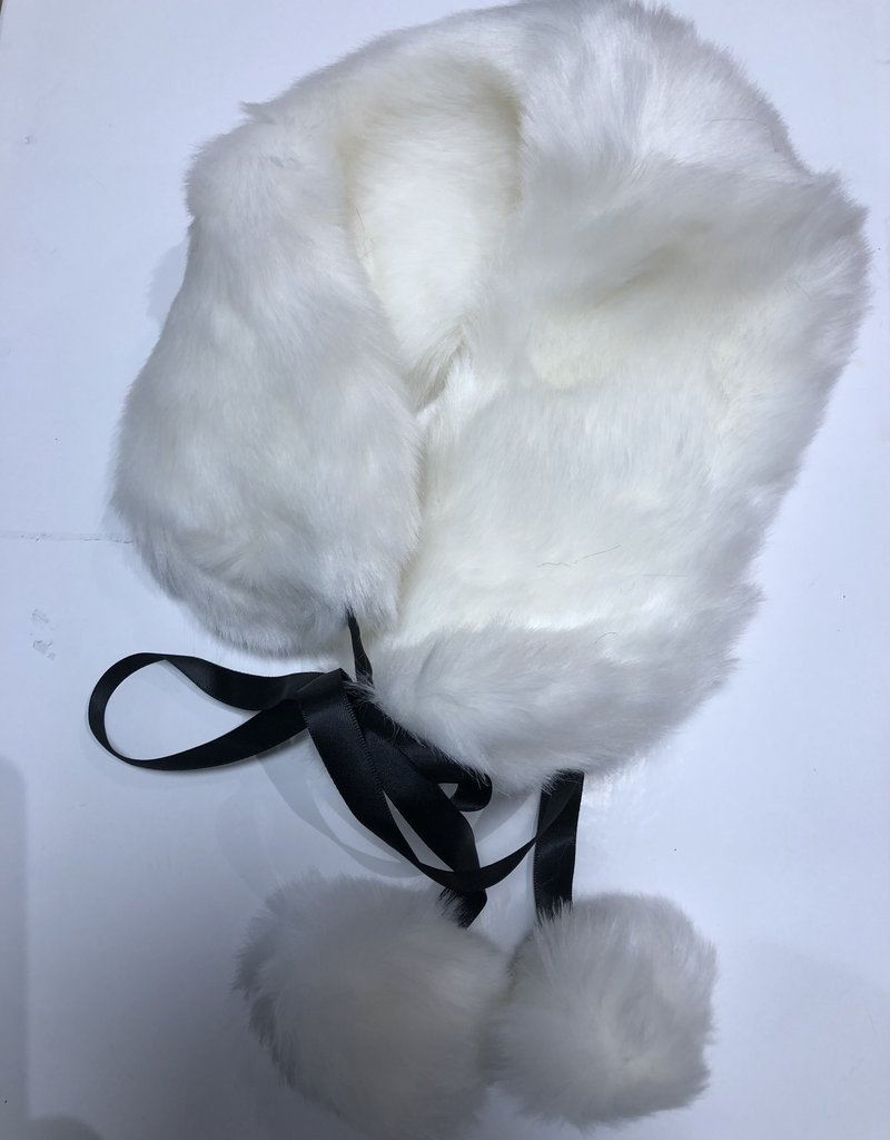 Bont sjaal off white met bonten bal