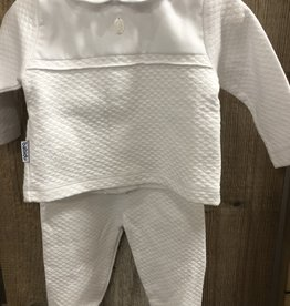 Babidu Babidu LONDON LONG SLEEVED BACK SNAP 2 PIECE FOOTED SET WHITE-56190