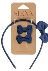 Siena Siena Set diadeem en strikjes donkerblauw