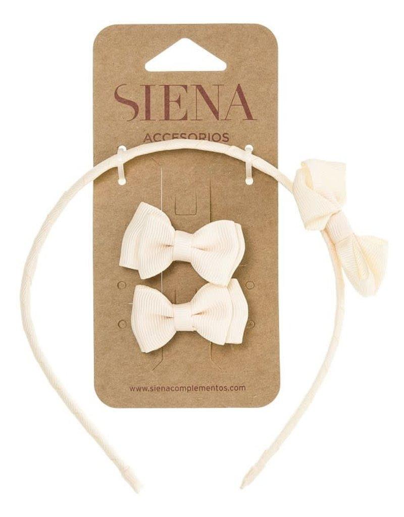 Siena Siena Set diadeem en strikjes off white