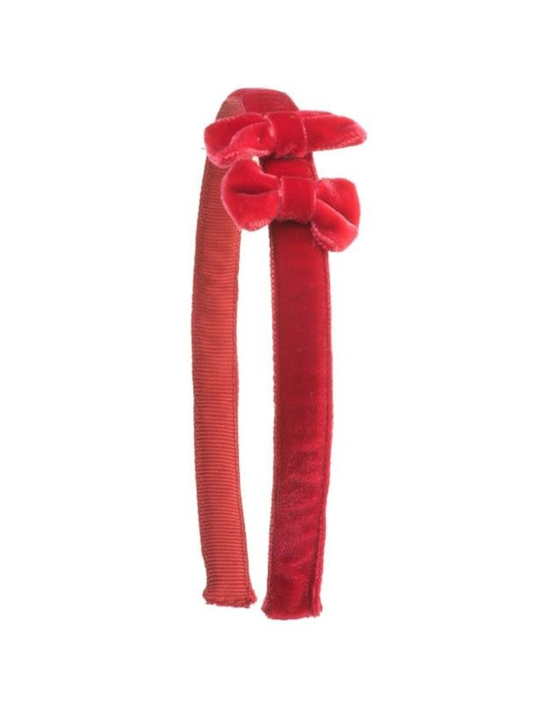 Siena Siena fluwelen  diadeem met strikjes rood