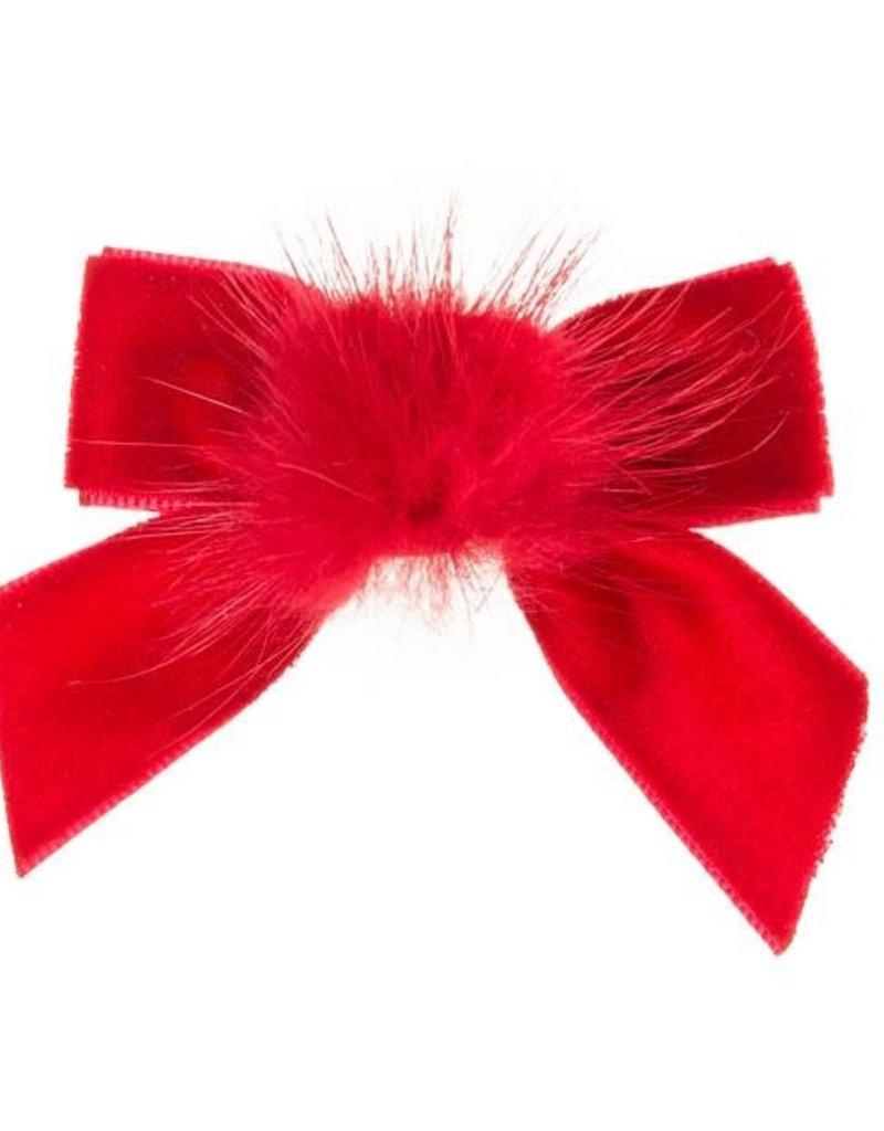 Siena Siena fluwelen strik rood met  bontje