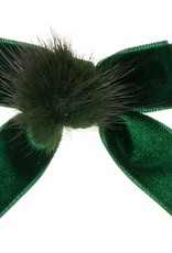 Siena Siena fluwelen strik groen  met  bontje