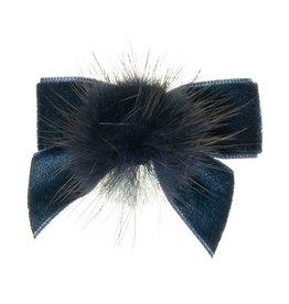 Siena Siena fluwelen strik  donkerblauw met  bontje