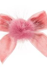 Siena Siena fluwelen strik  oud roze met  bontje