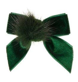 Siena Siena elastiek  groen met fluwelen strik en bontje