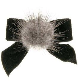Siena Siena elastiek  strik zwart met fluwelen strik en bontje