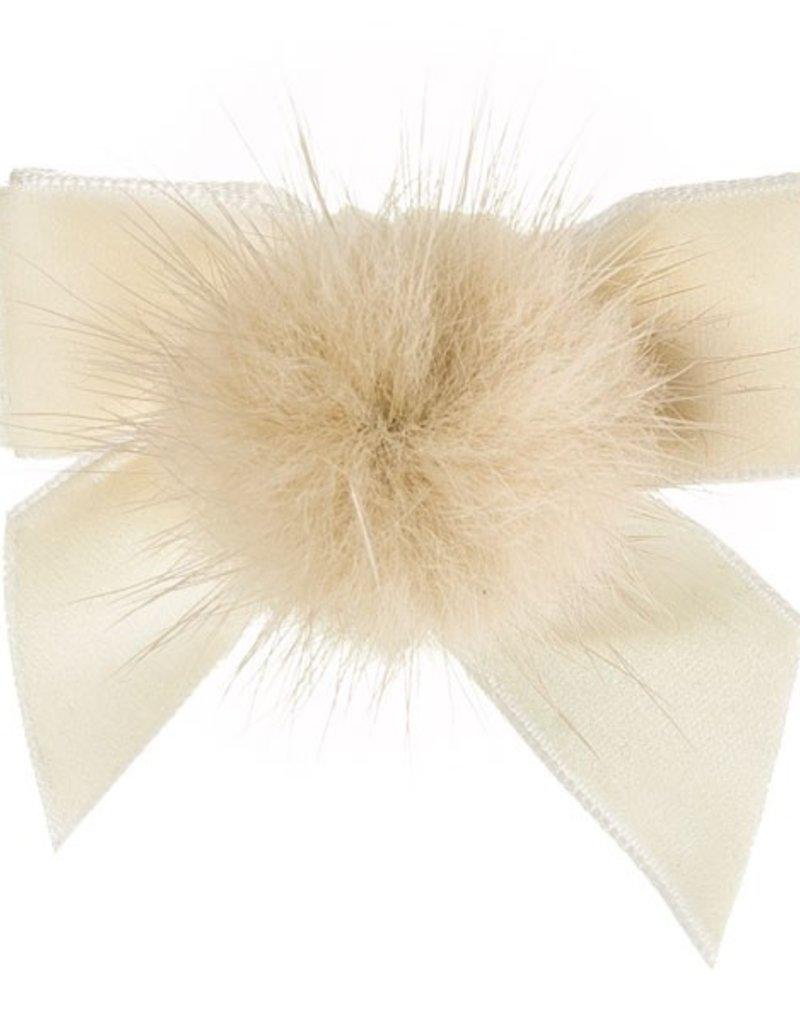Siena Siena fluwelen strik off white met  bontje