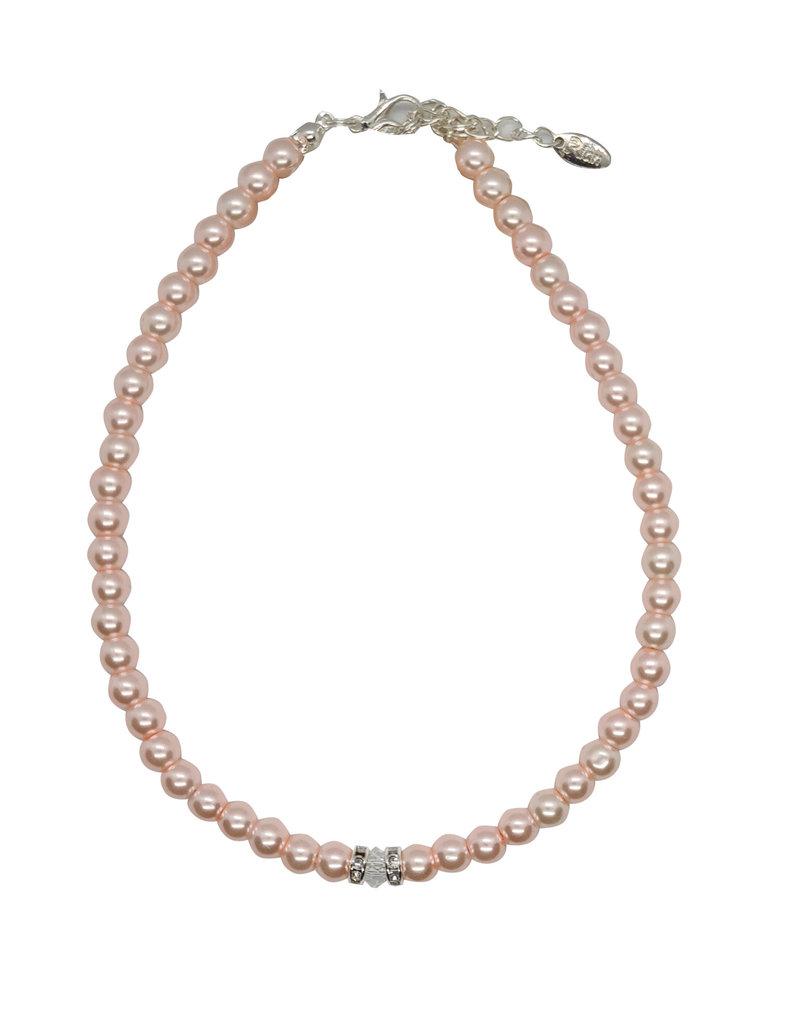 Rian Rian Parel ketting  roze met steentje