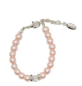 Rian Rian Parel armbandje roze met steentje