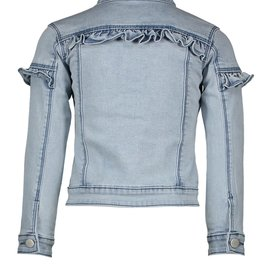 Le Chic Le Chic denim jacket light wash ruffle C012-5186 Classic Light Denim