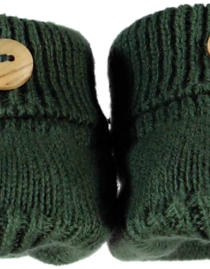 Klein Slofjes d groen gebreid met houten knoopje