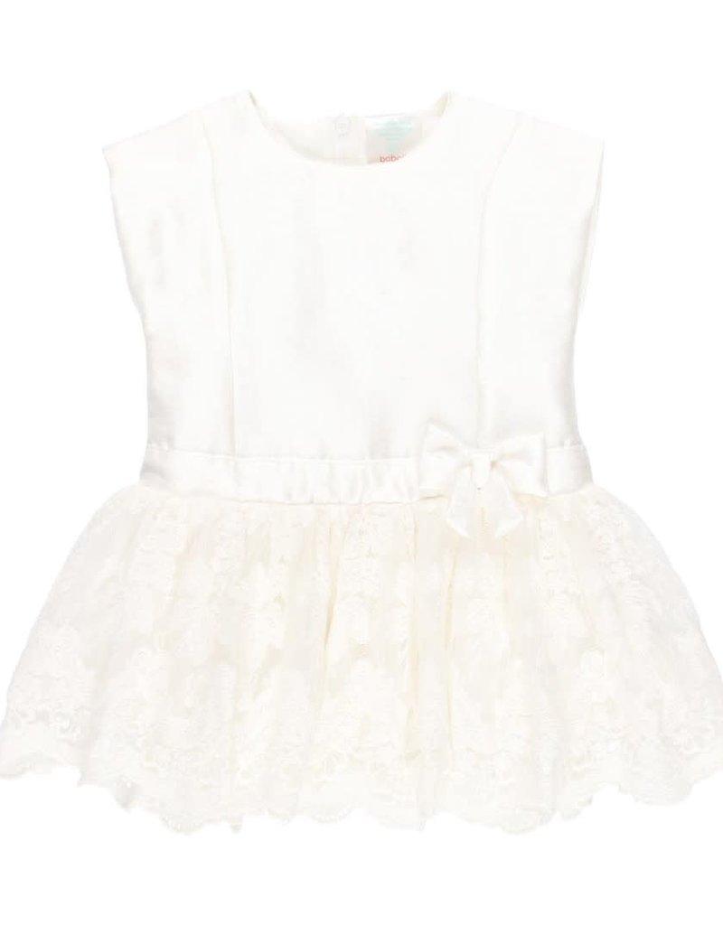 Boboli Boboli Dress combined for baby off white 702010