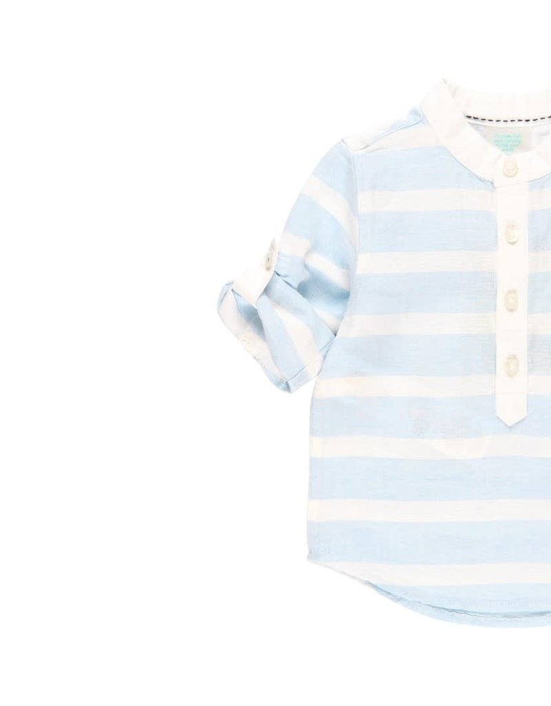 Boboli Boboli Linen shirt long sleeves for baby boy stripes 712235