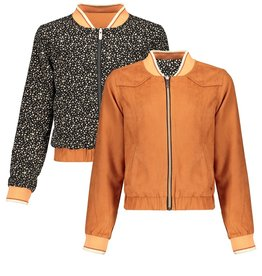 Nobell Nobell Doys reversible bomber cardigan in fake suede and animal on the other side Q102-3302 Ginger