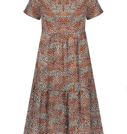 Nobell Nobell Mian s/sl maxi wide dress with small turtle neck in Leopard AOP Q102-3801 Ginger