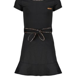Nobell Nobell Mikky little black dress with 1/2 sleeves and piping in V-shape at front Q102-3802 Jet Black