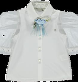 Piccola Speranza Piccola Speranzie blouse met lichtblauwe bloem ps6002