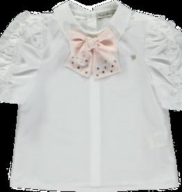 Piccola Speranza Piccola Speranza blouse met roze strik  ps6002
