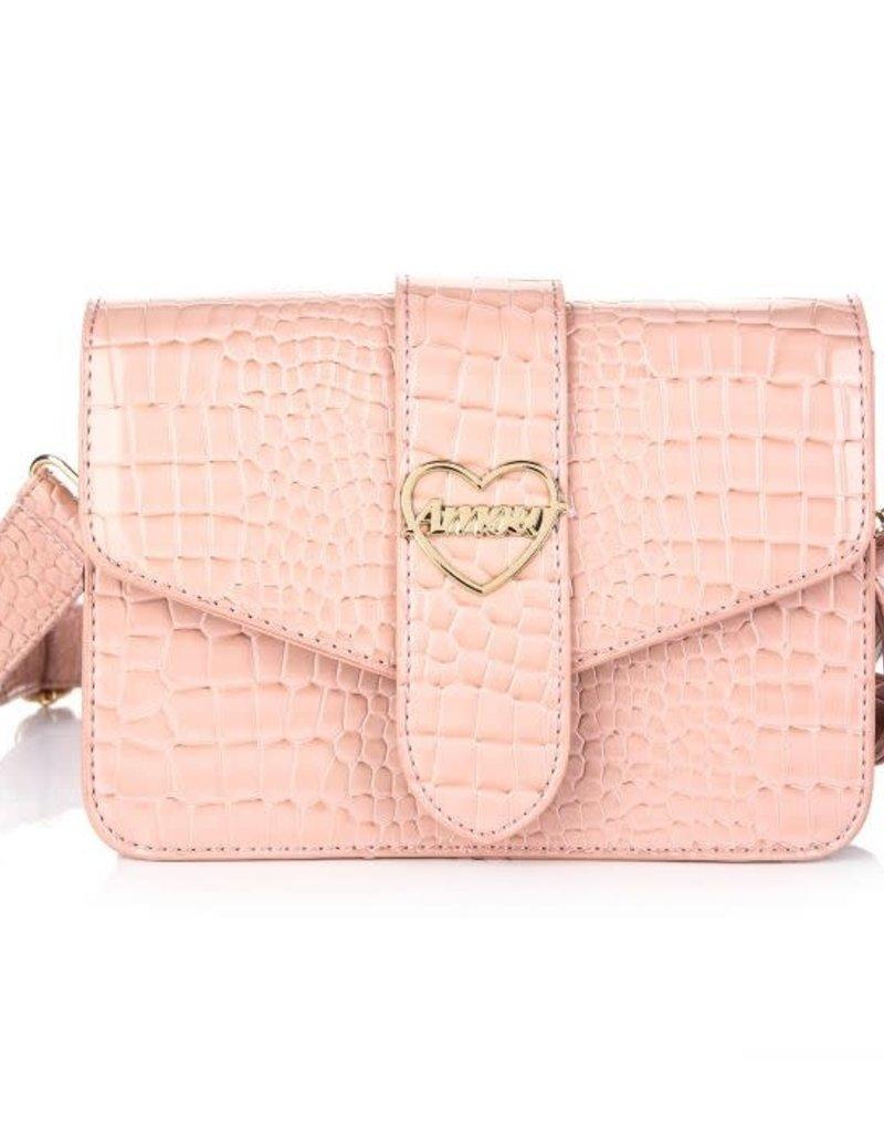 Tas  roze croco met goud hart en brede riem