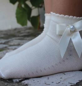 Meia Pata Meia Pata Peaked Short Socks With Satin Bow and Pearl Botton 01 White