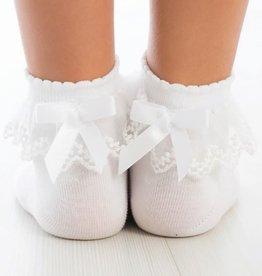 Meia Pata Meia Pata Peaked Short Socks With Tule and Satin Bow Back 01 White