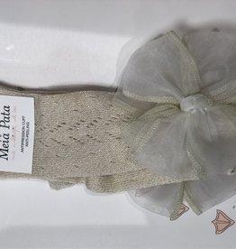 Meia Pata Meia Pata Kneesocks New Spike With Organza Bow 47 Ivory Lurex