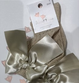 Meia Pata Meia Pata Peaked Short Socks With Tule and Satin Bow Back 33 Gold Lurex 33