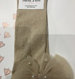 Meia Pata Meia Pata Kneesocks With Tule Bow With Pearls 33 Gold Lurex 33