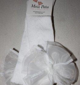 Meia Pata Meia Pata Kneesocks New Spike With Organza Bow 01 White