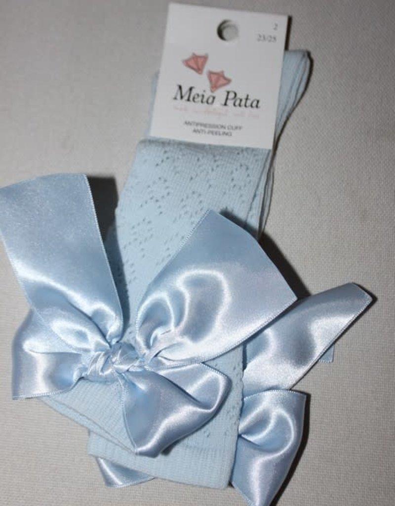Meia Pata Meia Pata Fish Kneesocks With Knot Satin Bow 11 Baby Blue