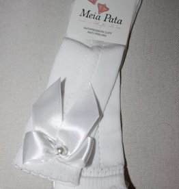 Meia Pata Meia Pata Perle Kneesocks with Satin Bow and Pearl Botton 01 White