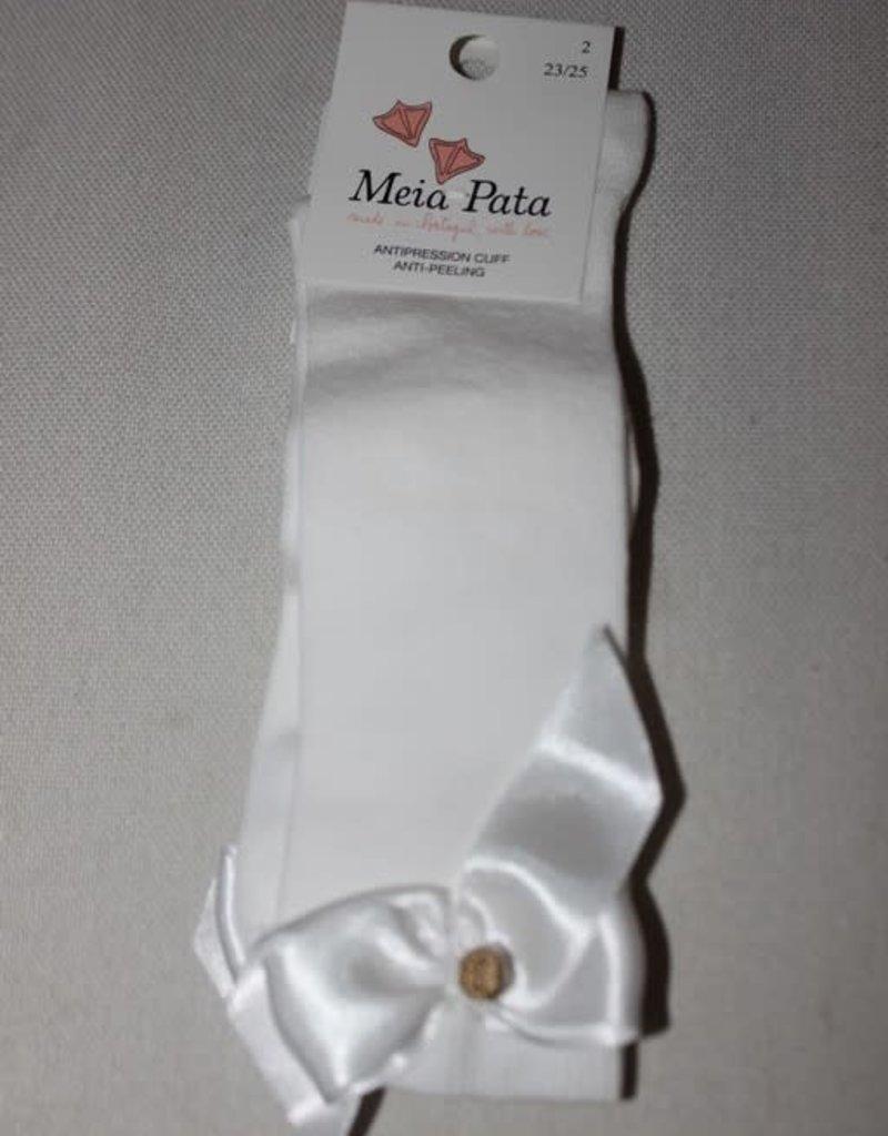 Meia Pata Meia Pata Kneesocks With Satin Bow and Gold Botton 35 Ivory