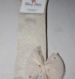 Meia Pata Meia Pata Kneesocks With Tule Bow With Pearls 47 Ivory Lurex