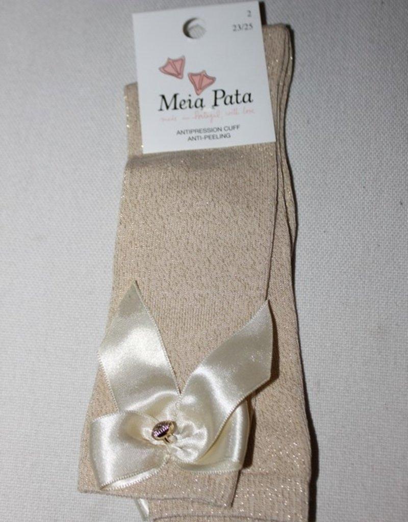 Meia Pata Meia Pata Kneesocks With Satin Bow and Gold Botton 33 Gold Lurex 33