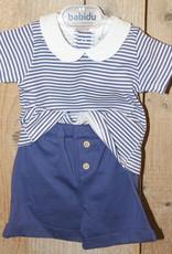 Babidu Babidu  Pakje tricot  blauw met wit kraagje