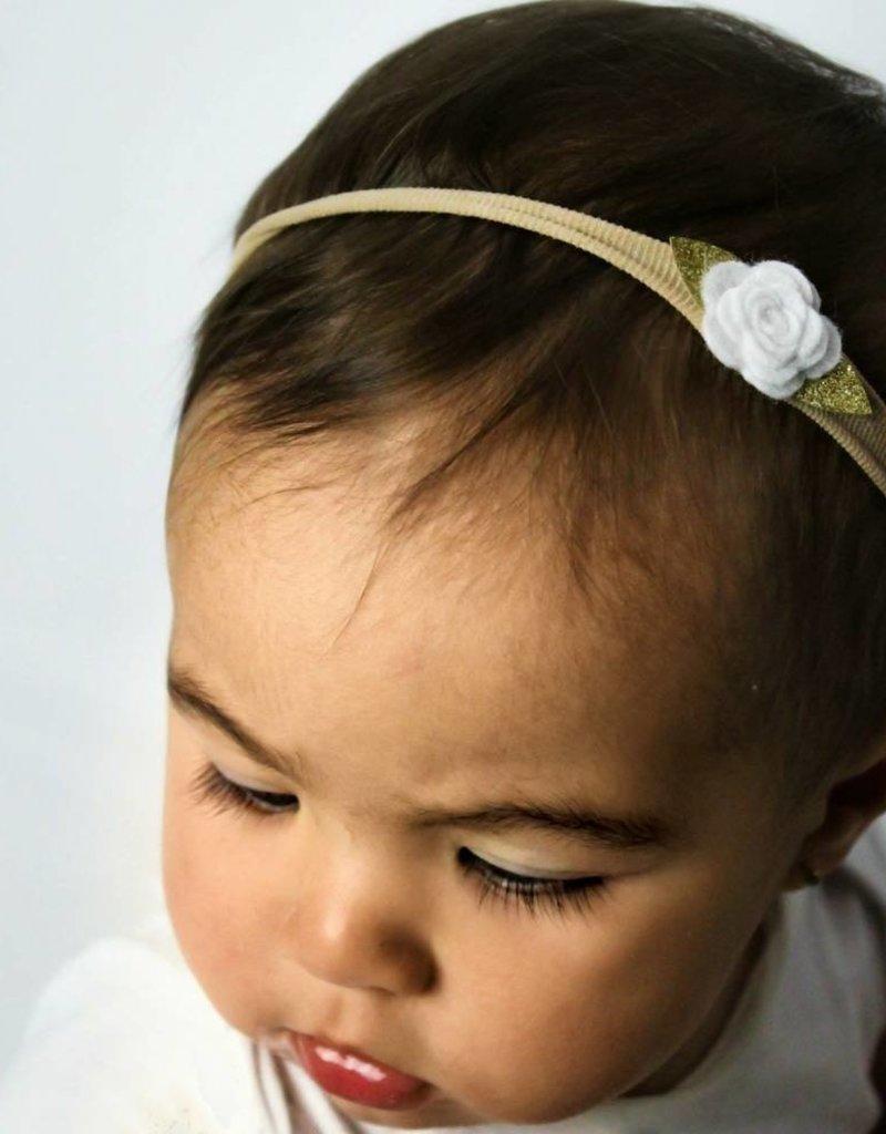 Your little miss Your little Miss Nylon baby haarbandje met wit vilten roosje kant met strik