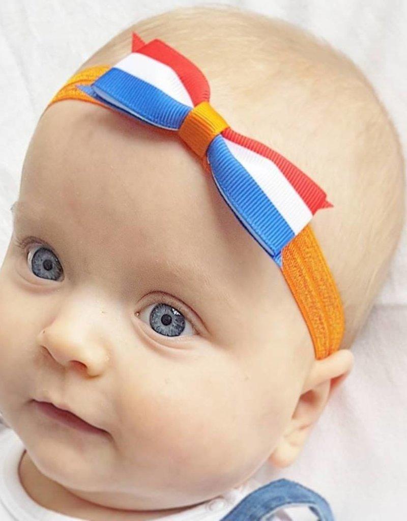 Your little miss Your little Miss  Baby haarbandje Koningsdag oranje met rood wit blauw