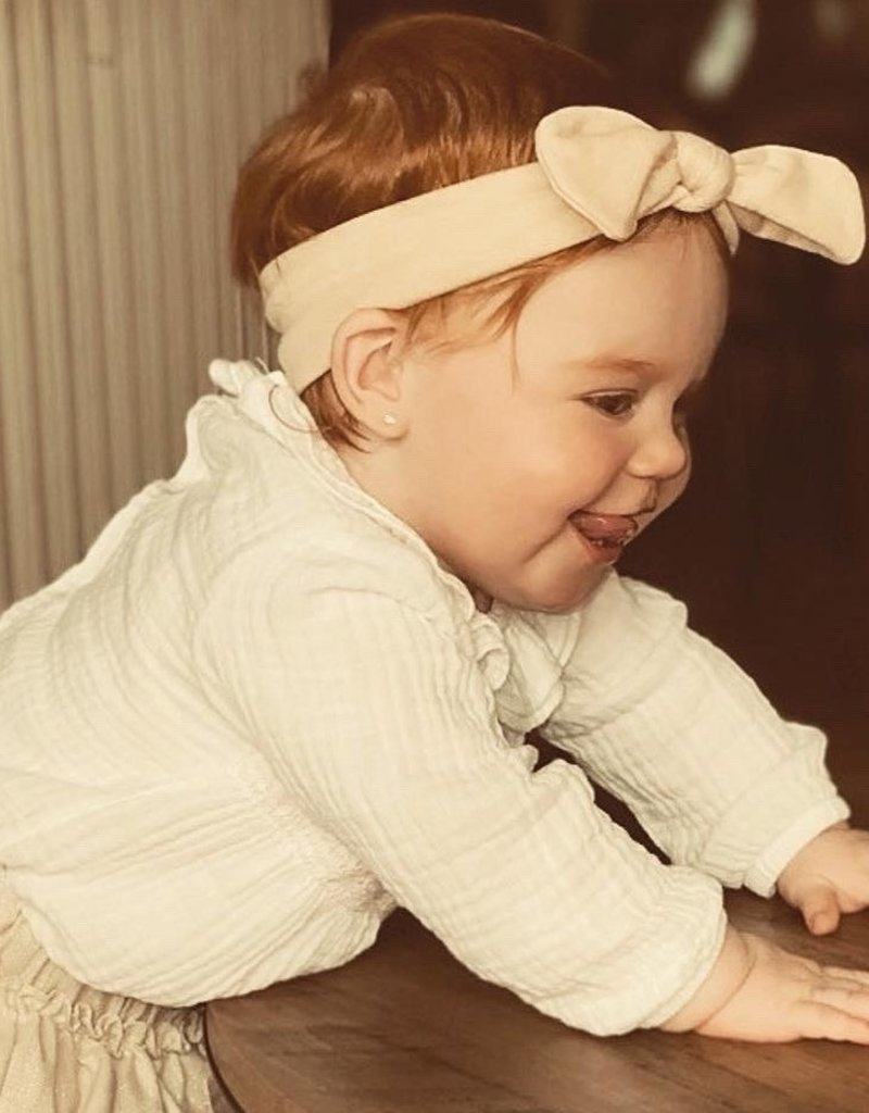 Your little miss Your little Miss Baby haarbandje met knoop gold