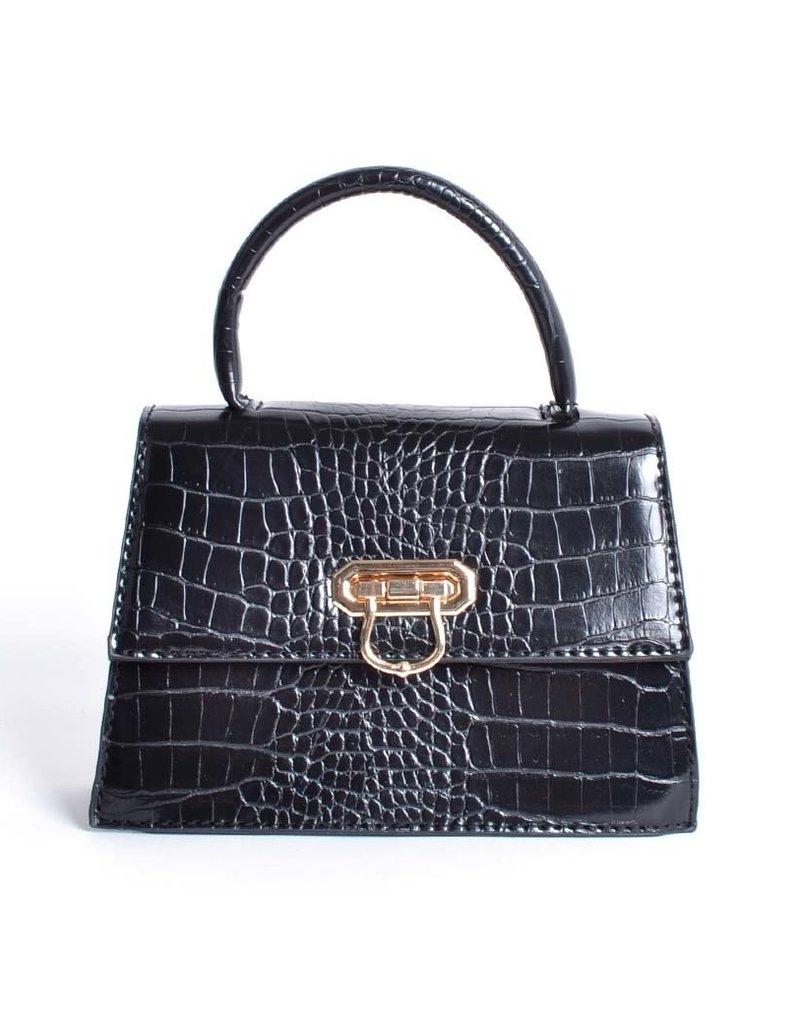 Tasje mini zwart met een kettingschouderband. De tas heeft een krokoprint.